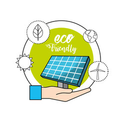 Hand with solar energy to environment care vector