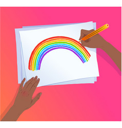 hands drawing rainbow arc with pencil vector image