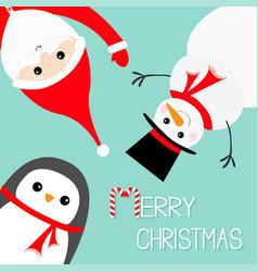 hanging upsidedown snowman penguin santa claus vector image