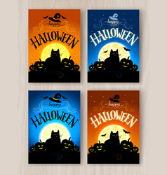 happy halloween postcards designs set vector image