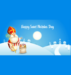 happy saint nicholas day - winter scene vector image