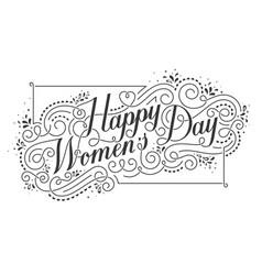 Happy womens day calligraphic text design element vector