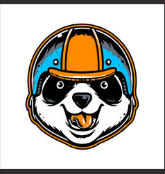 Head panda wearing helmet hand drawing vector
