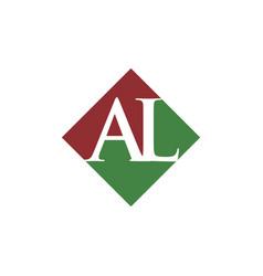 Initial al rhombus logo design vector