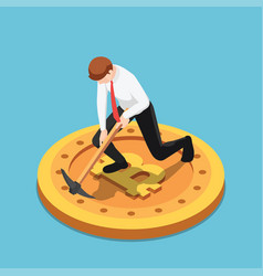 isometric businessman use pickaxe digging on vector image