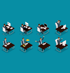 Isometric entrepreneurs different scenes vector
