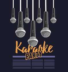 Karaoke party music poster design with microphones vector