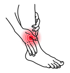 leg pain icon person holding with hands sick vector image
