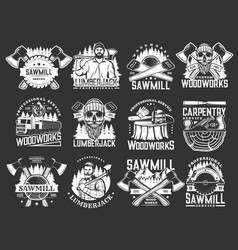 Lumberjack woodworks carpentry and sawmill icons vector