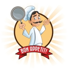 Man chef kitchen restaurant design vector
