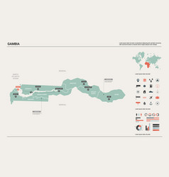 Map gambia high detailed country vector