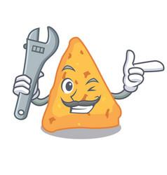 Mechanic nachos mascot cartoon style vector