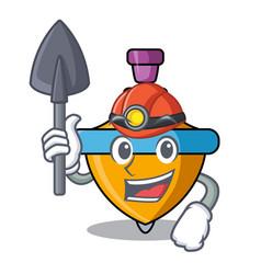 Miner spinning top mascot cartoon vector