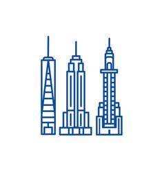 new york skyline line icon concept new york vector image