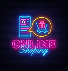 Online shoping neon banner design template vector