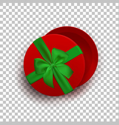 Opened red empty gift box with green ribbon and vector