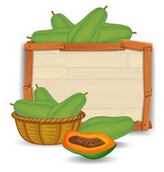 Papaya on wooden board vector