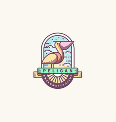 pelican line art design template vector image