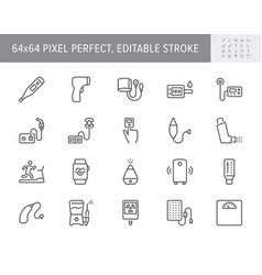 Personal medical devices line icons vector