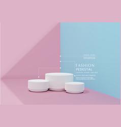 Pink-blue minimal scene podiumfor cosmetic vector