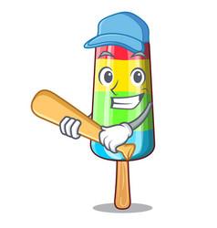 playing baseball colorful ice cream sticks on vector image