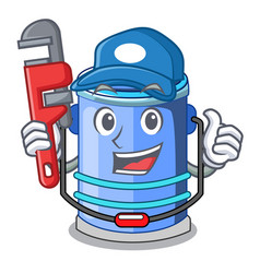 plumber bucket cylinder water in shape character vector image