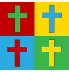 Pop art religious cross icons vector