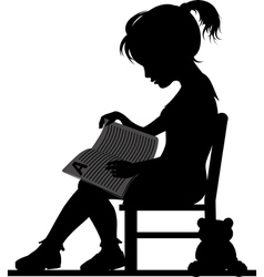 Reading little girl vector