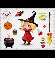 red halloween cartoon set of objects for witches vector image