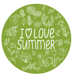 round template with i love summer quote vector image