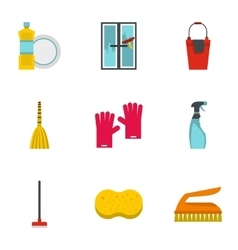 Sanitation icons set flat style vector