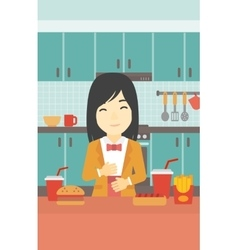 Satisfied woman eating fast food vector