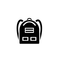 School backpack icon simple flat sign black vector