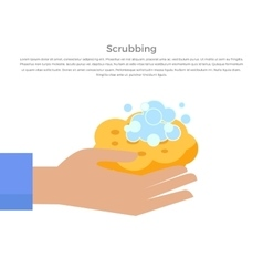 Scrubbing Hand with Soap and Wisp Design Banner vector
