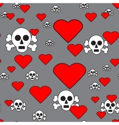 Sculls and Hearts on Gray Seamless Pattern vector