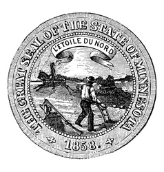 Seal of the State of Minnesota vintage engraving vector image