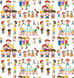 Seamless background with children playing games vector