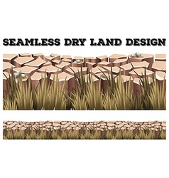Seamless dry land with grass vector