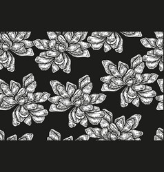 Seamless pattern with vintage magnolia flowers vector