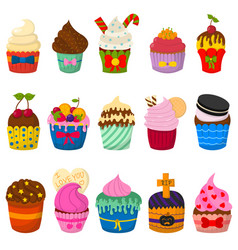 set cute cupcakes and muffins isolated vector image