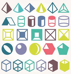 set icons geometric logo vector image