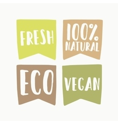 Set of vegan eco labels vector image vector image