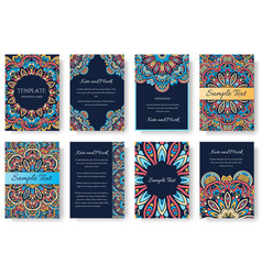 Set old ramadan kareem flyer pages ornament vector