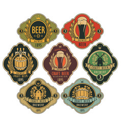 set ornate beer labels in retro style vector image