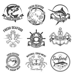Set seafood labels isolated on white vector
