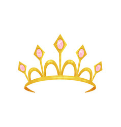 Shiny princess tiara decorated with five precious vector