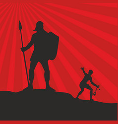 silhouette of david and goliath vector image