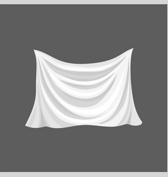 Silk bed sheet white satin cloth with gray vector