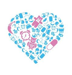 Sleep icons in heart vector