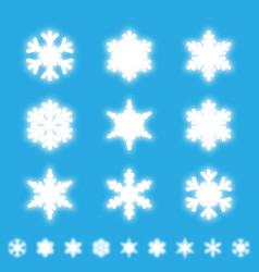 snowflakes isolated set white neon light snow vector image